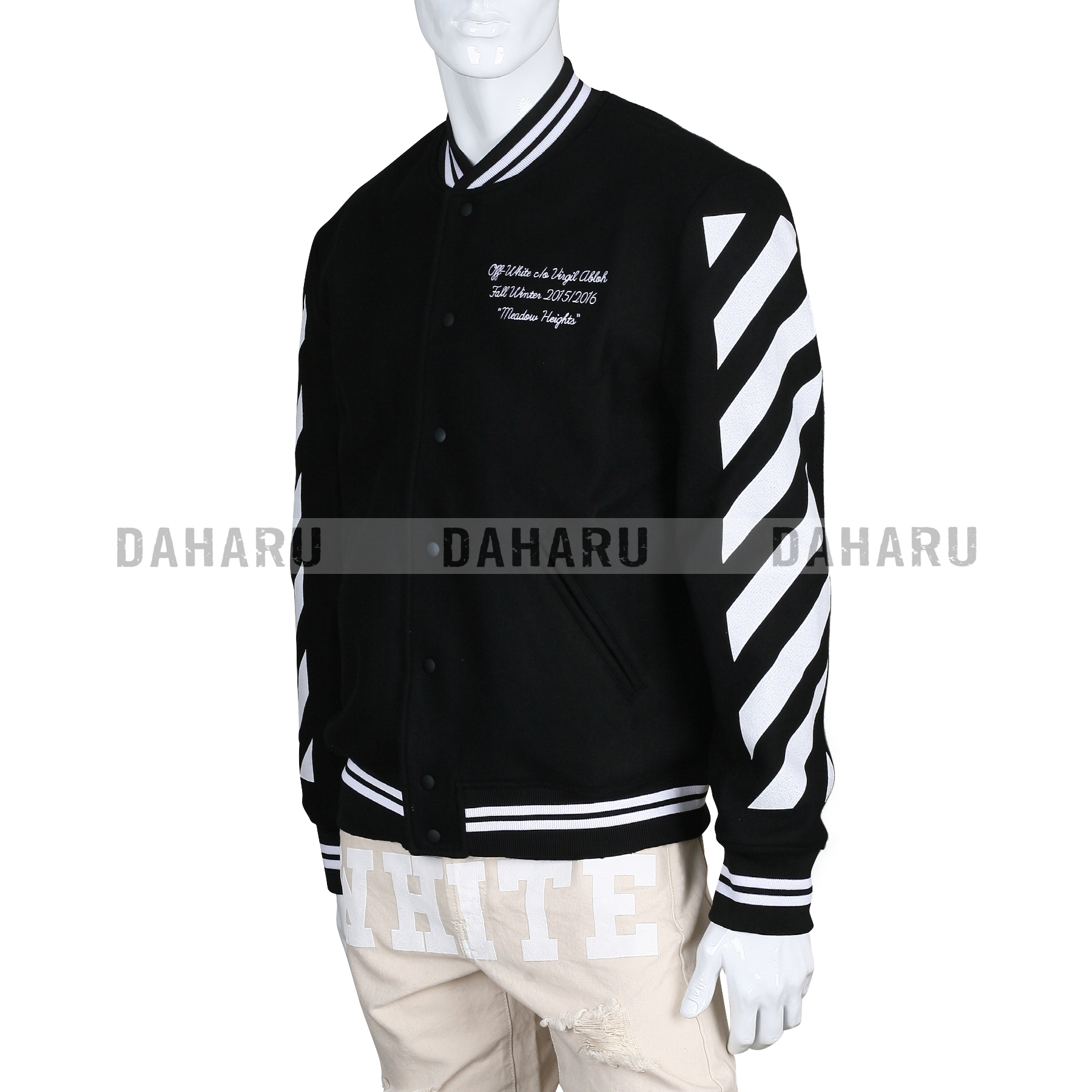2f92478b12e2 OFF-WHITE CARRY OVER LETTERMAN JACKET BLACK  SALE!  - Maison D